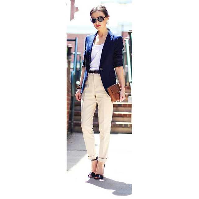 Temperate Custom Made Navy Blue Jacket Khaki Pants Women Business Suits Formal Office Suits Work Blazer Female Trouser Elegant Pant Suits High Quality Pant Suits Suits & Sets