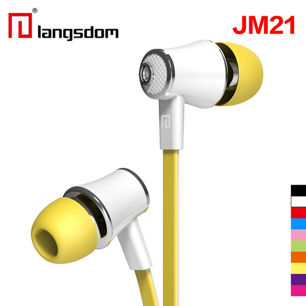 Langsdom JM21 Earphone Super Bass Stereo HIFI Earbuds With Microphone 3.5mm Noodles Wired In-ear Earphone For Samsung iPhone HTC original senfer dt2 ie800 dynamic with 2ba hybrid drive in ear earphone ceramic hifi earphone earbuds with mmcx interface