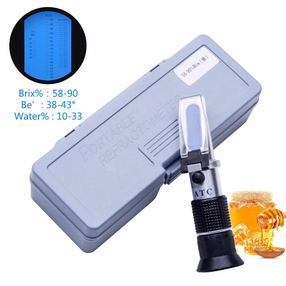 Yieryi Neuf 58 ~ 90% Brix 38 ~ 43 Be Baume Miel Vin Réfractomètre atc Portable Réfractomètre de Miel Apicole Testeur