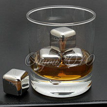 Hot Sale New Great Stainless Steel Ice Cubes Cool Glacier Rock Neat Drink Freezer gel Wine Whiskey Stones  For Gift