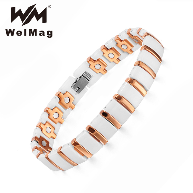 WelMag Magnet Bracelet Ceramic Rose Gold Charm Bracelets Bangles Accessories for Women Fashion Magnetic Health Care Wristband