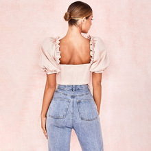 Sexy Ruffled Square Collar Crop Top Women Blouses Summer Vintage Short Puff Sleeve Ladies Tops Shirt blusas mujer de moda 2019