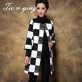 High quality black and white plaid trench coat for women 2015 autumn  puls size 3/4 sleeve fashion runway outerware female 3XL