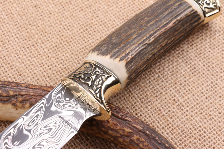 Buy Antler Damascus Collection Knives Utility Survival Straight Knives Outdoor Hunting Knife Camping Knife EDC Tools cheap
