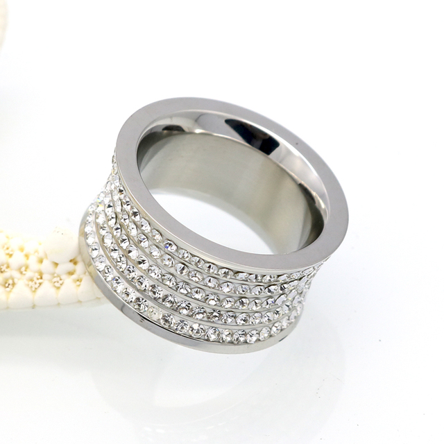 11mm Wide Crystal Gold Plated Ring