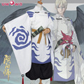 Tenkou Uwowo Onmyoji Satén Kimono Azul Blanco Traje de Cosplay Conjunto Completo