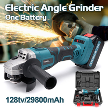 Protable Electric Angle Grinder Cordless Power Cutting Tool + 128tv/29800 lithium battery Rechargeable Power Tool Grinder