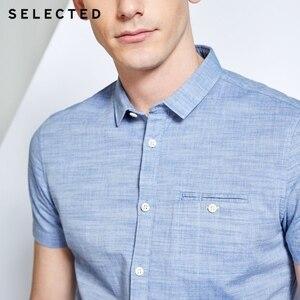 Image 4 - Мужская рубашка из 100% хлопка чистого цвета с острым воротником и короткими рукавами C