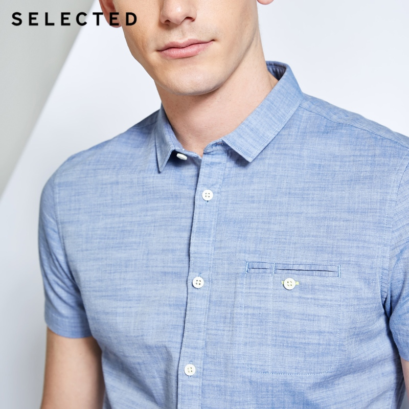 Image 4 - SELECTED Mens 100% Cotton Pure Color Pointed Collar Short sleeved Shirt C418204531Casual Shirts