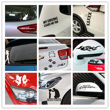 Panda Footprint Cool Design Car StickerPaw 3D Dog Sexy Girl Angels Demons Fish Prints Decal Stickers Silver Gold Red