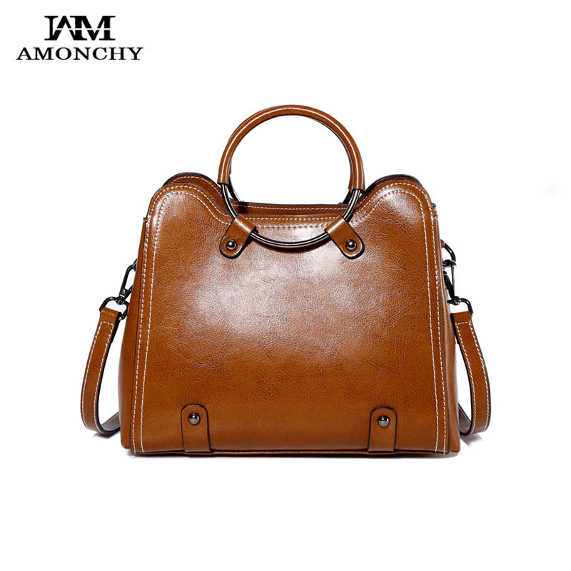 AMONCHY 2018 New Women Genuine Leather Bags Fashion Brand Design Shoulder Bags For Ladies Handbags Metal Ring Handle Bag Totes lanso composite handbags for women vintage design handle bags genuine leather zipper shoulder bags fashion ladies casual totes