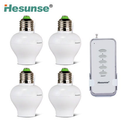 Free Shipping YE27-GRC 1N4 Wireless Smart Remote Control Bulb Holder 220V E27 Lamp Base + 4 Bulb Holder new rf 315 e27 led lamp base bulb holder e27 screw timer switch remote control light lamp bulb holder for smart home