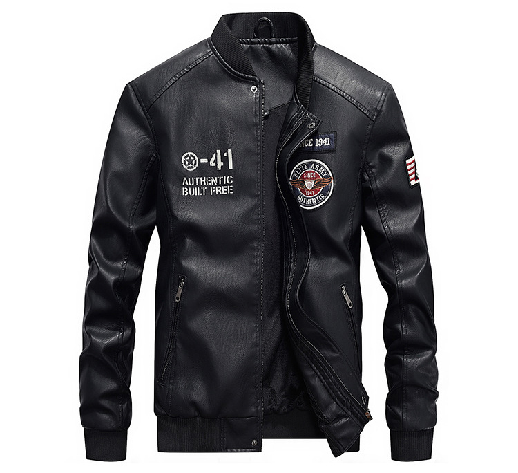 AFS JEEP Embroidery Baseball Jackets Men Letter Stand Collar Pu Leather Coats Plus Size 4XL Fleece Pilot Leather Jacket hombre