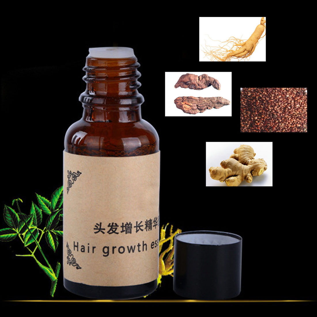 Herbal Keratin Fast Hair Growth Essence alopecia hair loss liquid Ginger sunburst Hair Growth Pilatory Oil