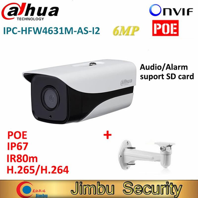 Dahua IPC-HFW4631M-AS-I2 6MP H.265 Full HD Network IR 80m Mini Camera POE cctv network bullet IPcamera with bracket dahua 6mp poe ip camera ipc hfw4631m i2 ip67 ir 80m h 265 wdr onvif outdoor came