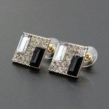 Trendy Luxurious Elegant Black White Sparkling Rhinestone Square Golden Silver Stud Earrings for Women Crystal piercing Jewelry(China)