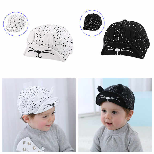 Newly Fashion Korean Kid Baseball Cap Cotton Cute Cat Hat Newborn Infant Caps Soft Brim Boy Girl Sun Hats For 5-24 Months Baby V
