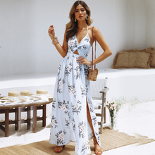 Sexy Deep V-Neck Print Women Dress Long Backless Floral Halter Dress For Female 2019 Summer Fashion Casual Party Beach Clothes цена