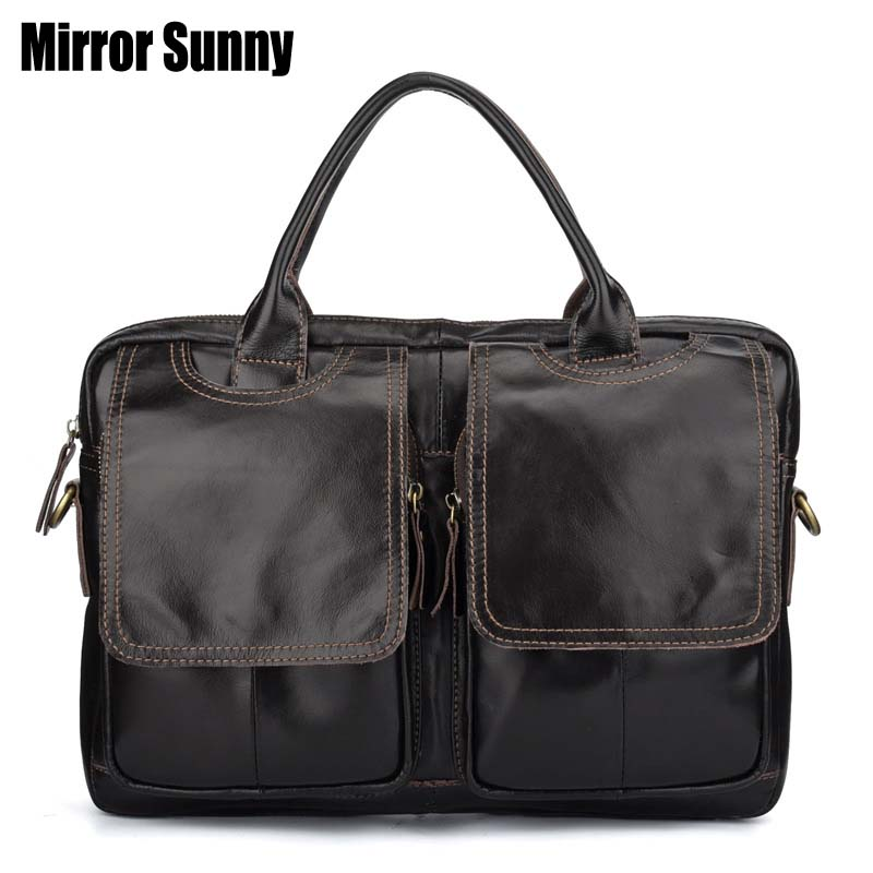 Men's Genuine Leather Briefcase Natural Leather Male Laptop Bag For Men Messenger Bags Man Briefcases Head Cowhide Handbags 2019