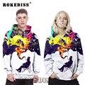 Hombres de la manera 3D de Impresión Digital camisetas de los Hoodies Mujeres Humo FRÍO Hombre Más El Tamaño de Cuello Redondo Con Capucha Pareja Set Ropa G013