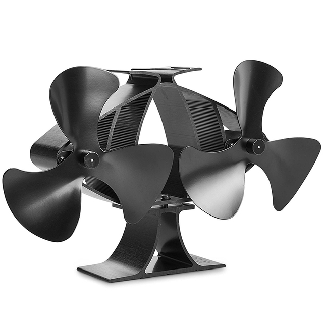 US $66 3 49% OFF|free shipping 6 Blade Twin Motor Double Heat Powered Wood  Stove Fan Ultra Quiet Fireplace Wood Burning Eco Fan For Efficient H-in