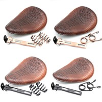 Motorcycle Retro Brown Crocodile Leather Solo Seat+3 Spring Bracket for Harley Custom Chopper Bobber Leather Saddle Seat