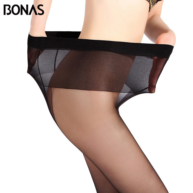 c6873025ca4 BONAS Large Size Black Nylons Lady Tights Summer Women T Crotch Elasticity  Seamless Pantyhose For Girls Thin Solid Color Female