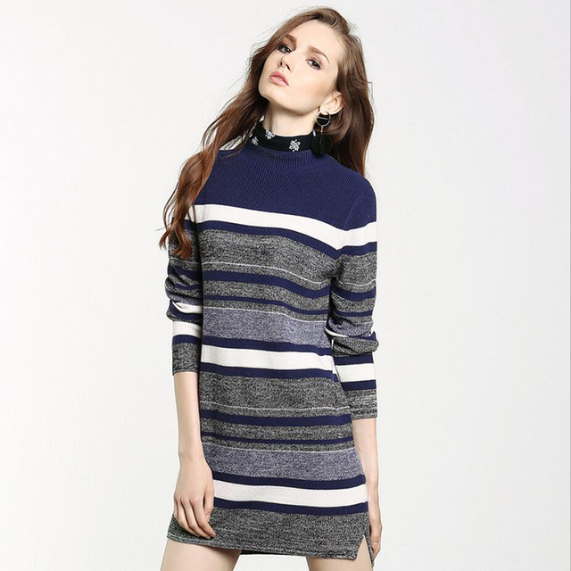European American style wool women sweater high quality fashion striped half collar full sleeves pullovers knitted shirts E342