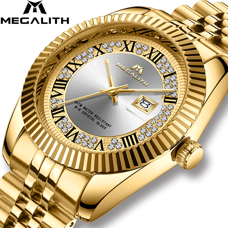 MEGALITH Luxury Brand Quartz Watches Men 3ATM Waterproof Military Wrist Watches Man Clock Chronograph Gold Business Men's Watch