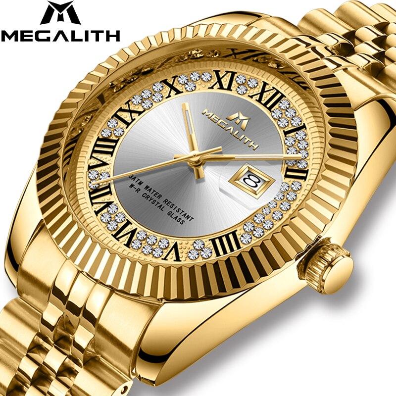 Saatler'ten Kuvars Saatler'de MEGALITH Lüks Marka kuvars saatler Erkekler 3ATM Su Geçirmez Askeri Bilek Saatler Adam Saat Chronograph Altın Iş erkek saati'da  Grup 1