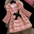Elegant wave cut Deep V neck full pelt natural rabbit fur coat outerwear women's autumn winter 2017 genuine fur jacket