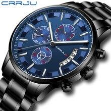 2019 Новая мода CRRJU лучший бренд класса люкс деловые мужские часы повседневное хронограф из нержавеющей стали Кварцевые наручные часы relojes hombre
