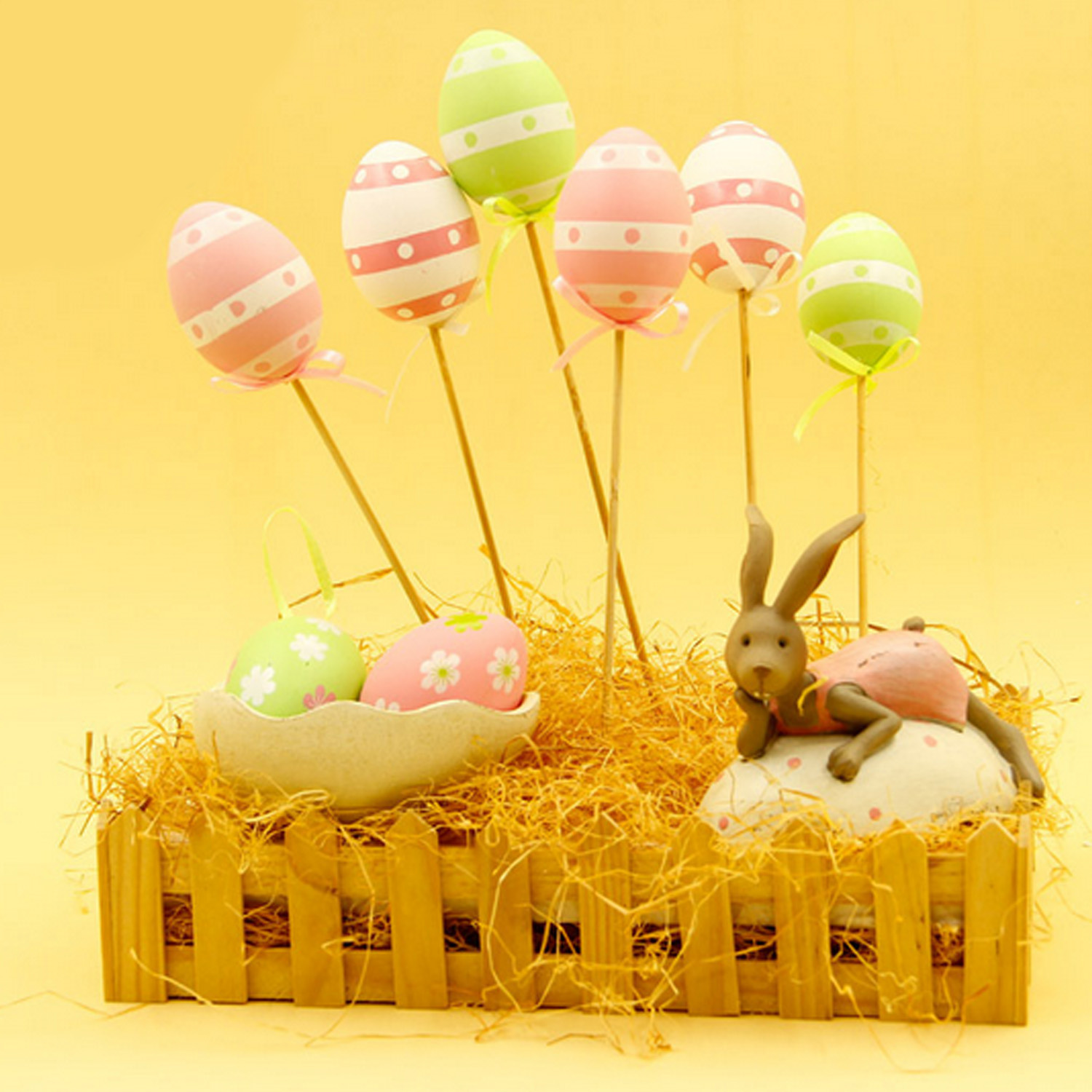 9pcs Colorful Plastic Easter Eggs Picks Simulation Egg with Stick Crafts Ornaments Gadge ...