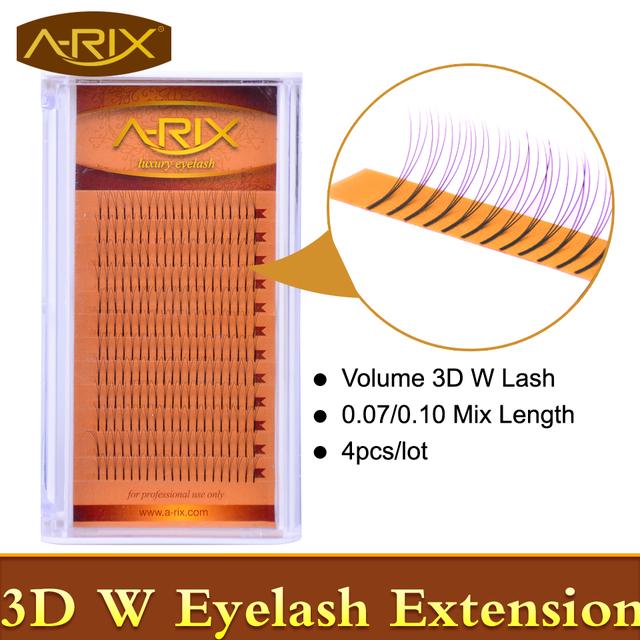 4 unids A-RIX Lujo Volumen 3D W 0.07 0.10 Extensiones de Pestañas de Visón Pestañas Individuales Pestañas Premade Ventilador Coreano Pestañas