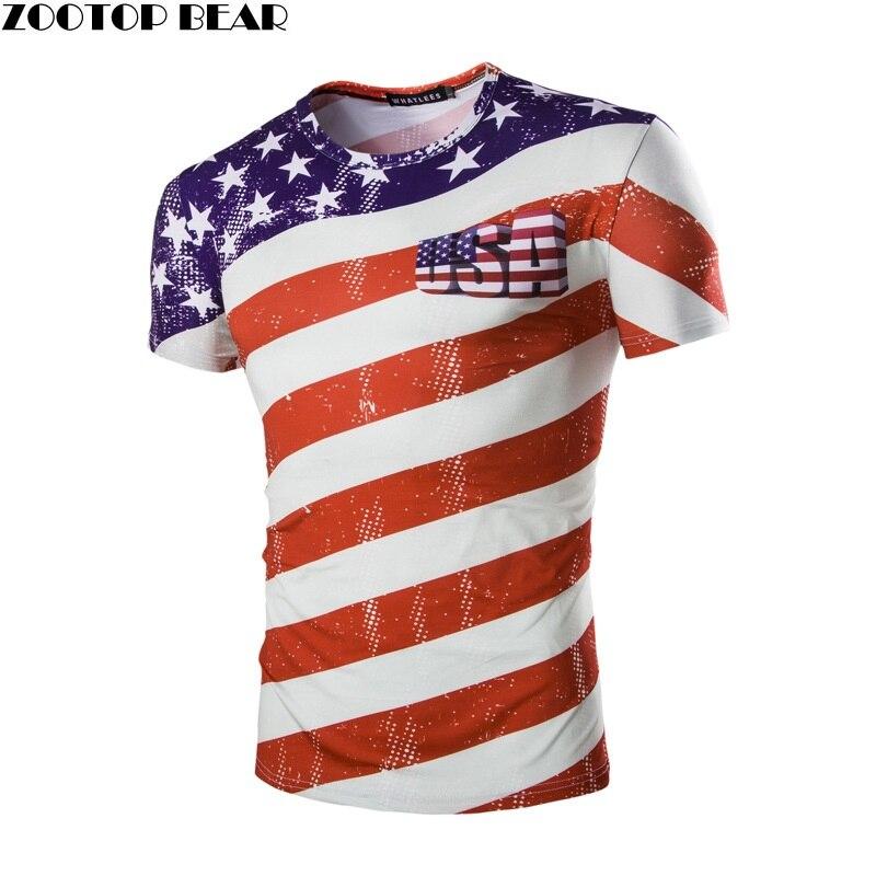 Usa flag tshirt stripe tops men short sleeve round neck 3d for T shirt printing usa