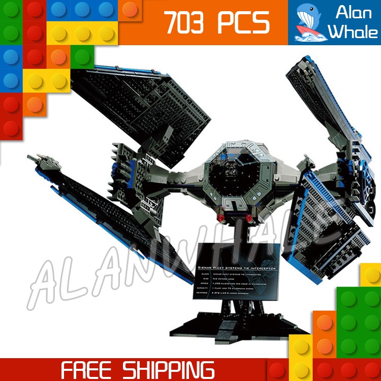 703pcs New Space Wars 05044 Ultimate Collector Series TIE Interceptor Model Building Blocks Toys Bricks Compatible with Lego конструктор lepin star plan истребитель tie interceptor 703 дет 05044