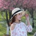 Мода Лето Твердые Бумаги Соломенная Шляпа С Бантом Большой Краев Пляж Шляпа Складной Купол Шляпа Солнца