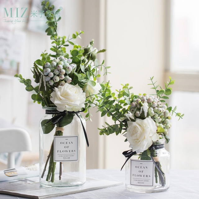 Crystal Glass Vase With Dried Flowers Home Decor Accessories Artificial Flower Bouquet Wedding Party Decoration-in Vases from Home \u0026 Garden on ... & Crystal Glass Vase With Dried Flowers Home Decor Accessories ...