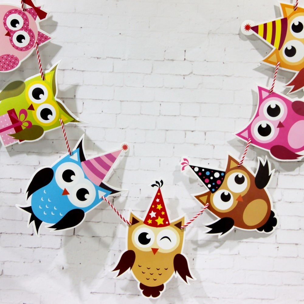 aliexpress com buy the owl garland kids birthday banners party