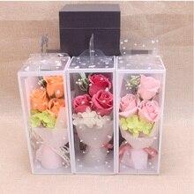 3 шт., искусственный мыльный букет из пены, цветок розы, подарок в коробке, маленький букет роз для женщин, подарок на день Святого Валентина, День рождения
