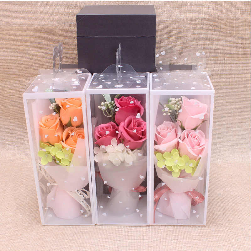 3PCS Artificial Soap Bouquet Foam Rose Flower Gift With Box,small Bouquet of Roses For Women Valentine's Day Birthday Gift