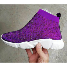 купить Shiny flat women Sneakers breathable fabric quality rhinestone decoration Knitted breathable shoes casual sports shoes women по цене 3278.79 рублей