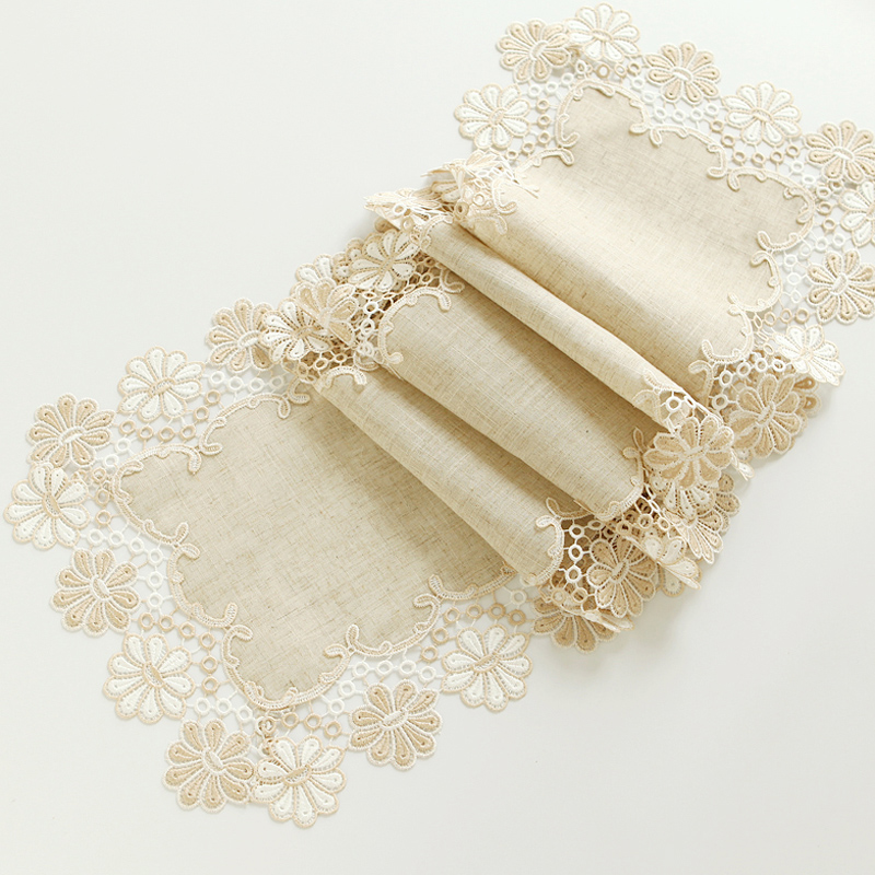 Luxury Decor Embroidery Lace Table Runner Linen Cotton Runners And Table Mat Flag Table Cloth Runners For Wedding Arpillera W09