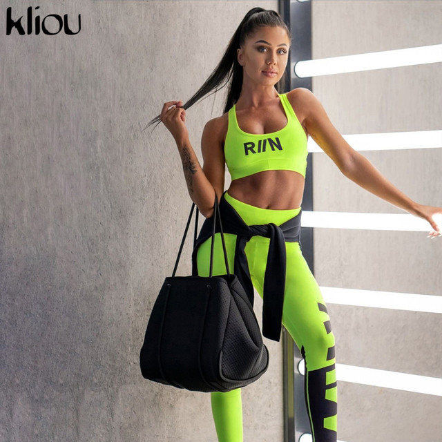 Kliou women fitness two pieces set neon color sportswear tank top bra with cups outfit 2019 skinny high waist leggings tracksuit