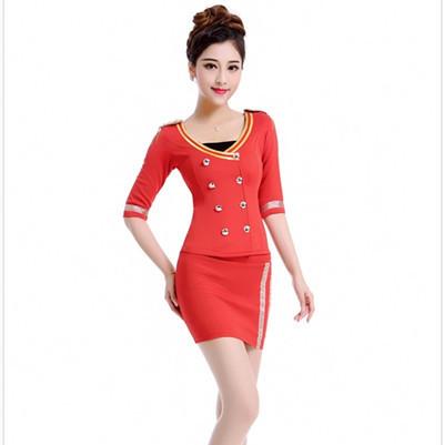 Frete grátis estilo verão com decote em v sexy saia terno vermelho preto branco fino trabalho uniforme para mulheres sexy formais sólida airline uniforme