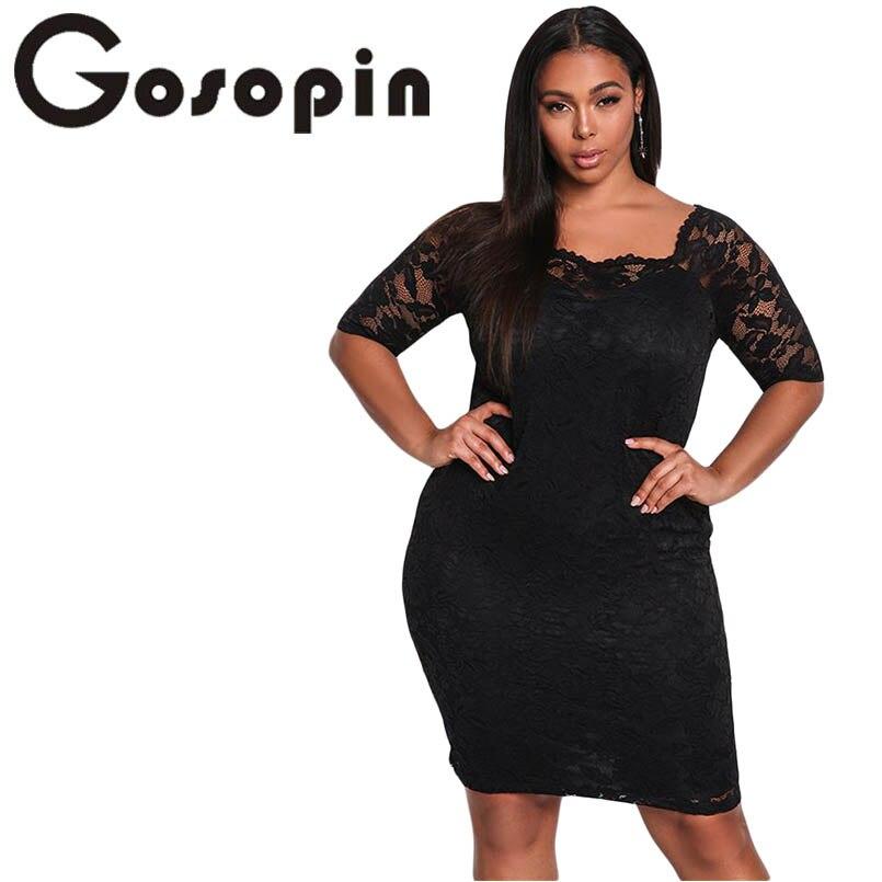 4c3acc0260f Gosopin Lace Dress Plus Size Sexy Summer Mini Party Dress Black Half Sleeve  Bodycon Elegant Women Club Dresses Vestido LC61797-in Dresses from Women s  ...
