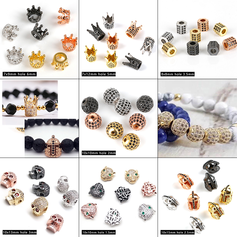 Pave Black CZ Spacer Beads 8mm Copper Crystal Crown Fit Bracelets Making JEWELRY