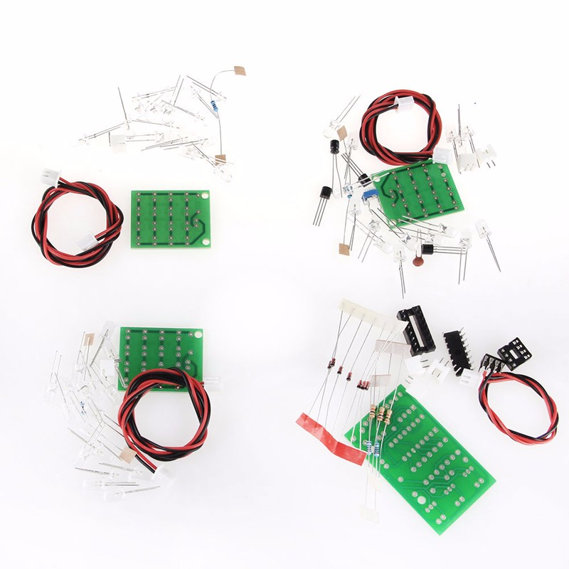 CD4017 + NE555 Explosion Flash Light LED Flashing Electronic Suite DIY Kit-W310