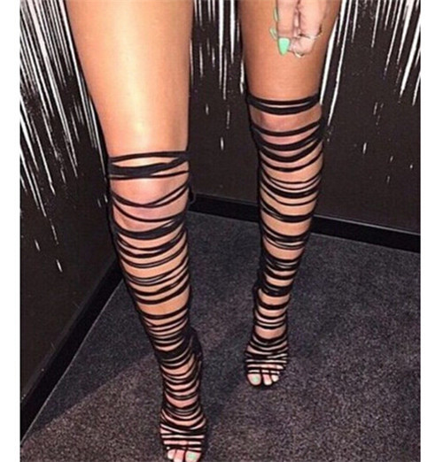 Online Shop Sexy Strappy Lace Up Thigh High Boots High Heels Over ...