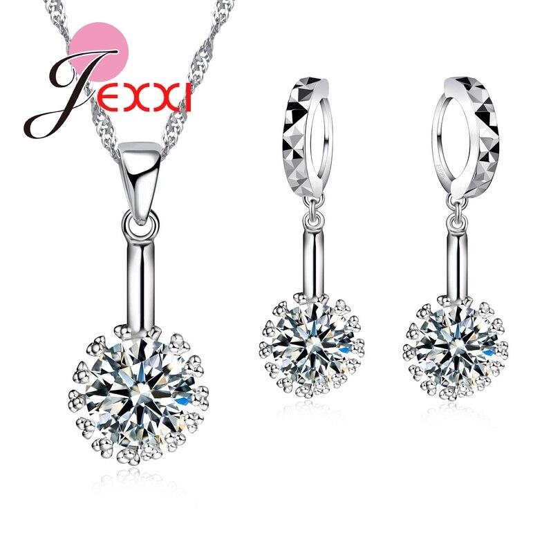 Brillant Jemmin 925 Sterling Silber Kugel Anhänger Halskette Disc Ohrringe Set Frauen Weibliche Hochzeit Elegante Crystaljewelry Sets Geschenk Durchsichtig In Sicht